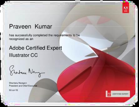 Mẫu chứng chỉ Adobe Certified Expert Illustrator CC