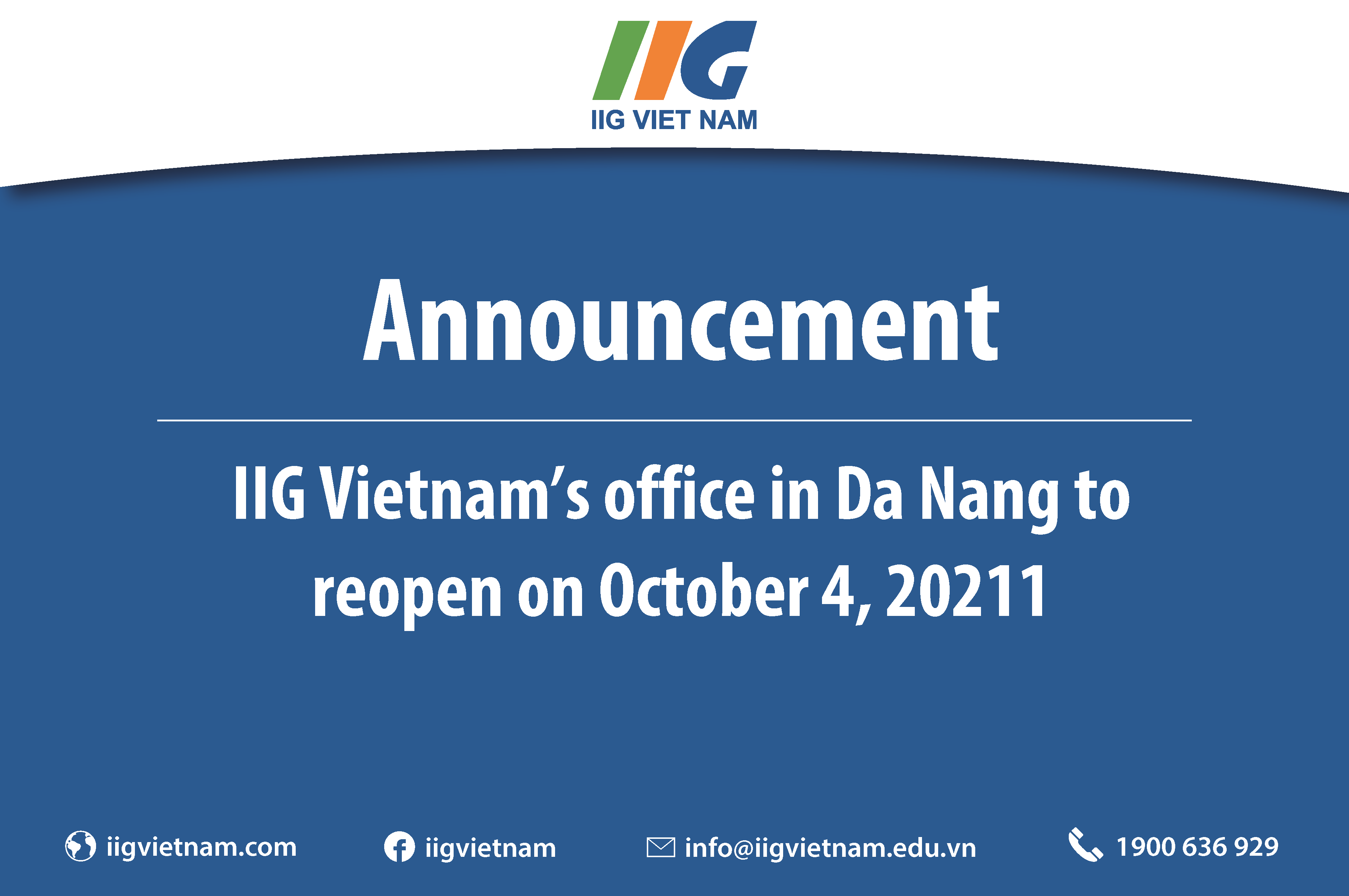 Announcement: IIG Vietnam's office in Da Nang to reopen on October 4, 2021