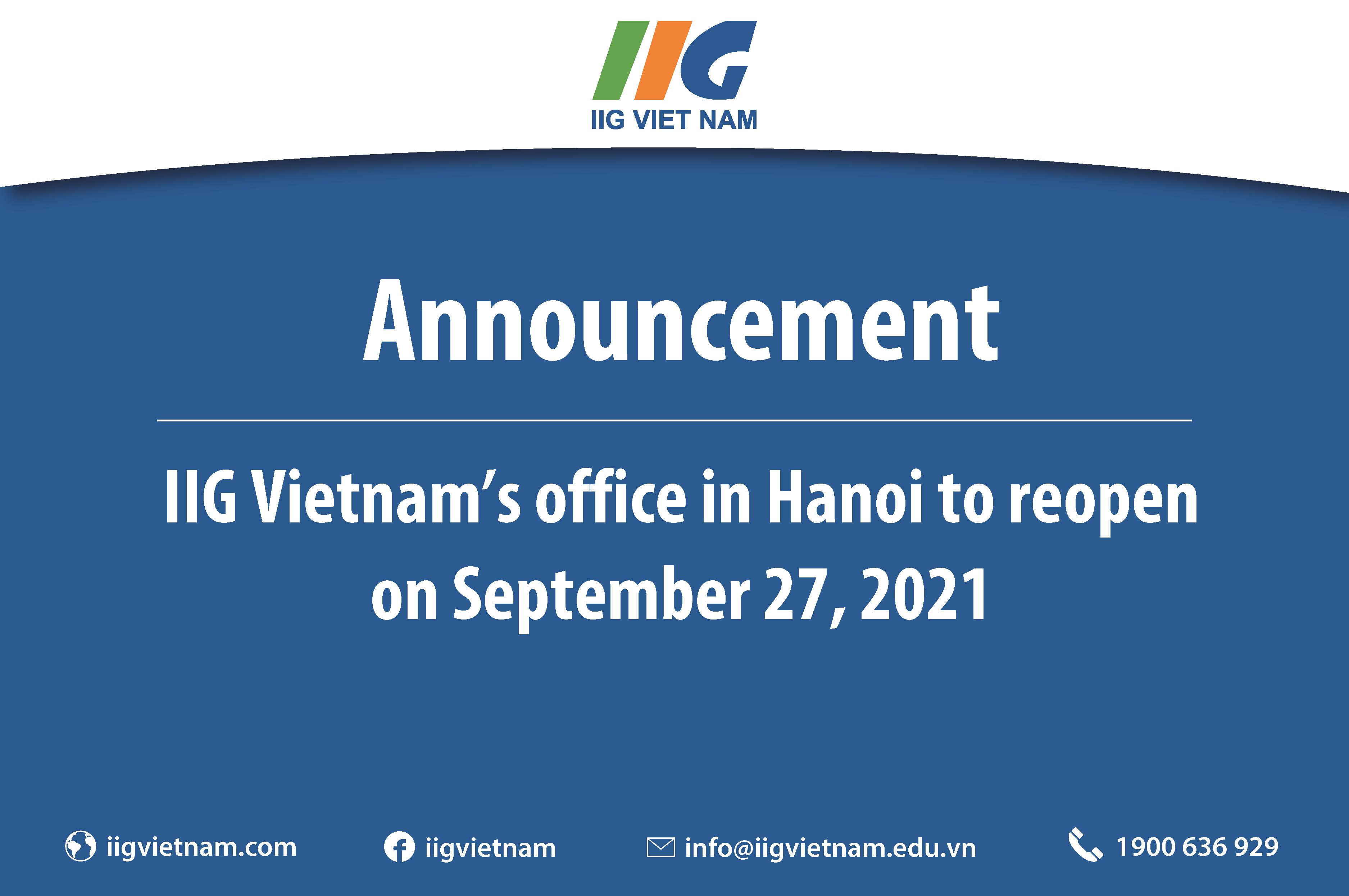 Announcement: IIG Vietnam's office in Hanoi to reopen on September 27, 2021